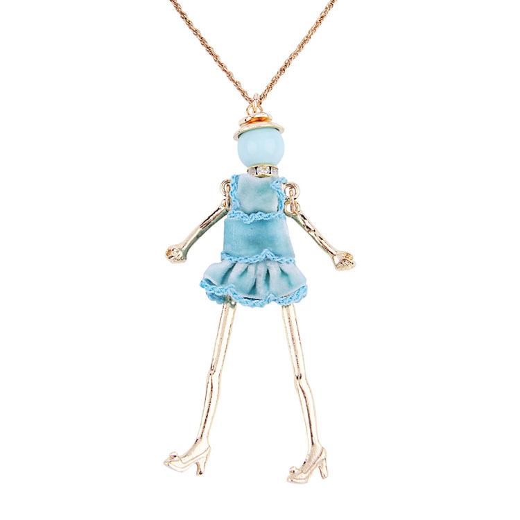 12pcs Fashion doll Pendant Necklace Lovely Dress Doll Necklaces &amp; Pendants Maxi collares Women collier Long Necklace<br><br>Aliexpress
