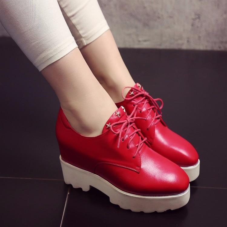 BIG SIZE 33-42 Round toe Platform Flat Oxford Shoes Woman Flats 2017 Fashion  British style Brogue Oxford shoes women flats Red