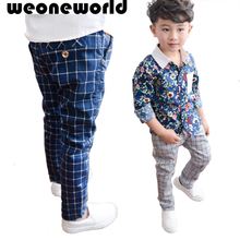 WEONEWORLD 2017 Hot Sale Boy pants Spring Autumn Long Pant Fashion Children Pencil Pant Beige and Blue Free Shipping(China (Mainland))