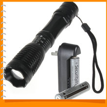 SALE!! 2000 Lumens Zoomable LED Flashlight Torch Waterproof Zoom CREE XML T6 LED Flash Light + 18650 Battery & Charger