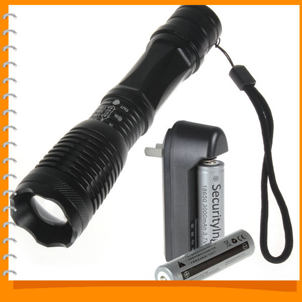 SALE!! 2000 Lumens Zoomable LED Flashlight Torch Waterproof Zoom CREE XML T6 LED Flash Light + 18650 Battery & Charger(China (Mainland))