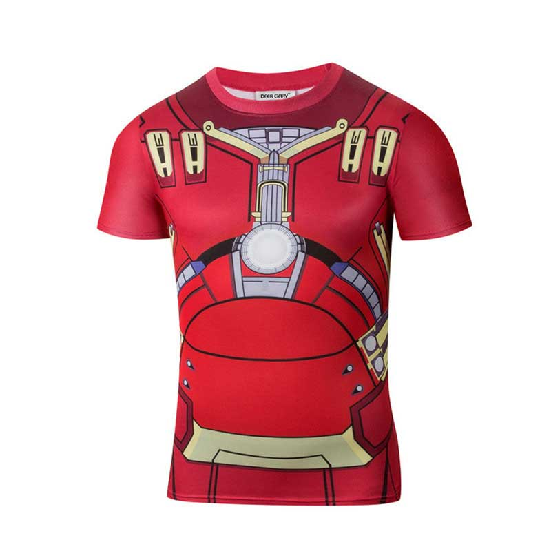 2016new Fashion Marvel Armor Iron Man 3 MK42 Superhero t shirt men costume jersey 3d Sport tshirt camisetas masculinas(China (Mainland))