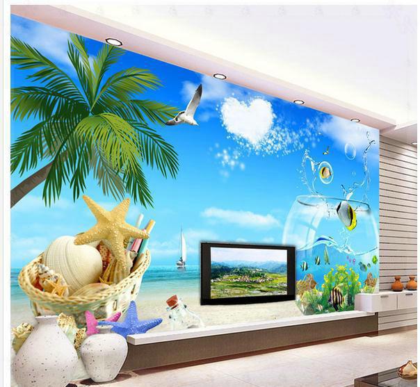 Wallpaper tv backdrop aquarium ocean views mural wallpaper for Aquarium mural wallpaper