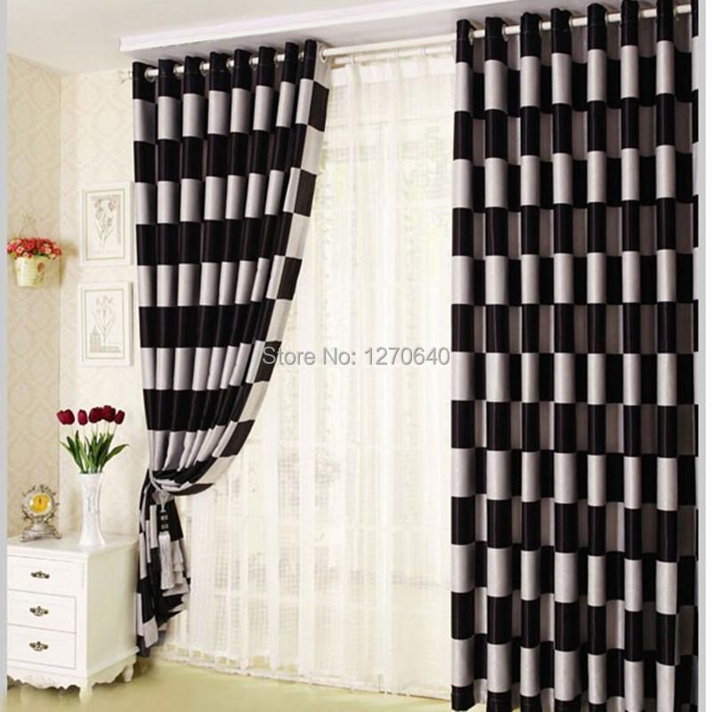 Black checkered curtains