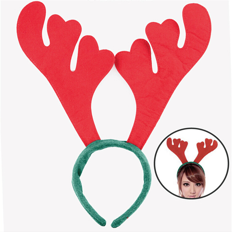 Lovely Hair Band Red Antlers Headband Christmas Party Props Costume headwear Xmas Decoration supplies 10pcs/lot(China (Mainland))