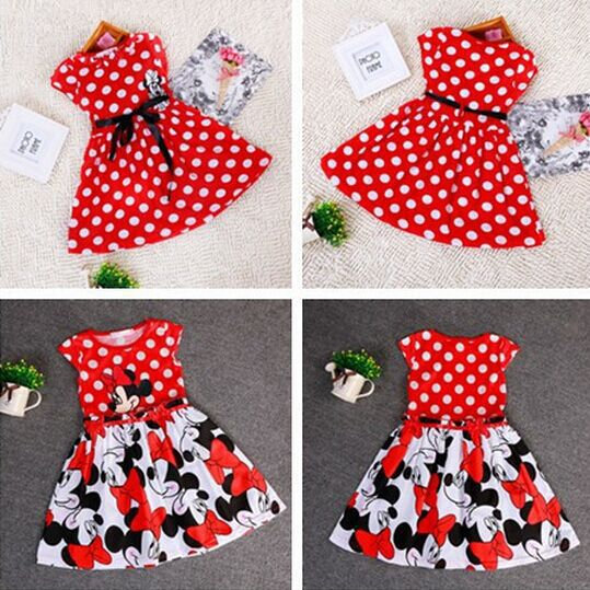 2015 Summer Dresses For Party Children Clothing Vestidos Girls Cute Minnie Mouse Pink Red Dress tutu princess children Clothing(China (Mainland))