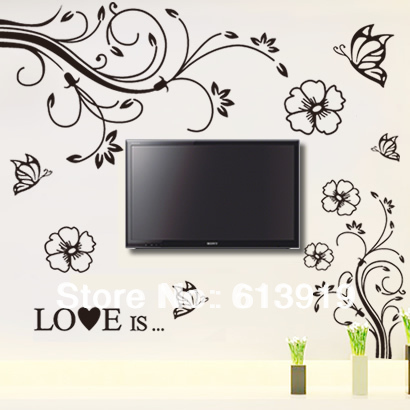Romantic TV Sofa Large Size Living Room Background Wall Decoration Stickers 2pcs=1set - DIY Sky store