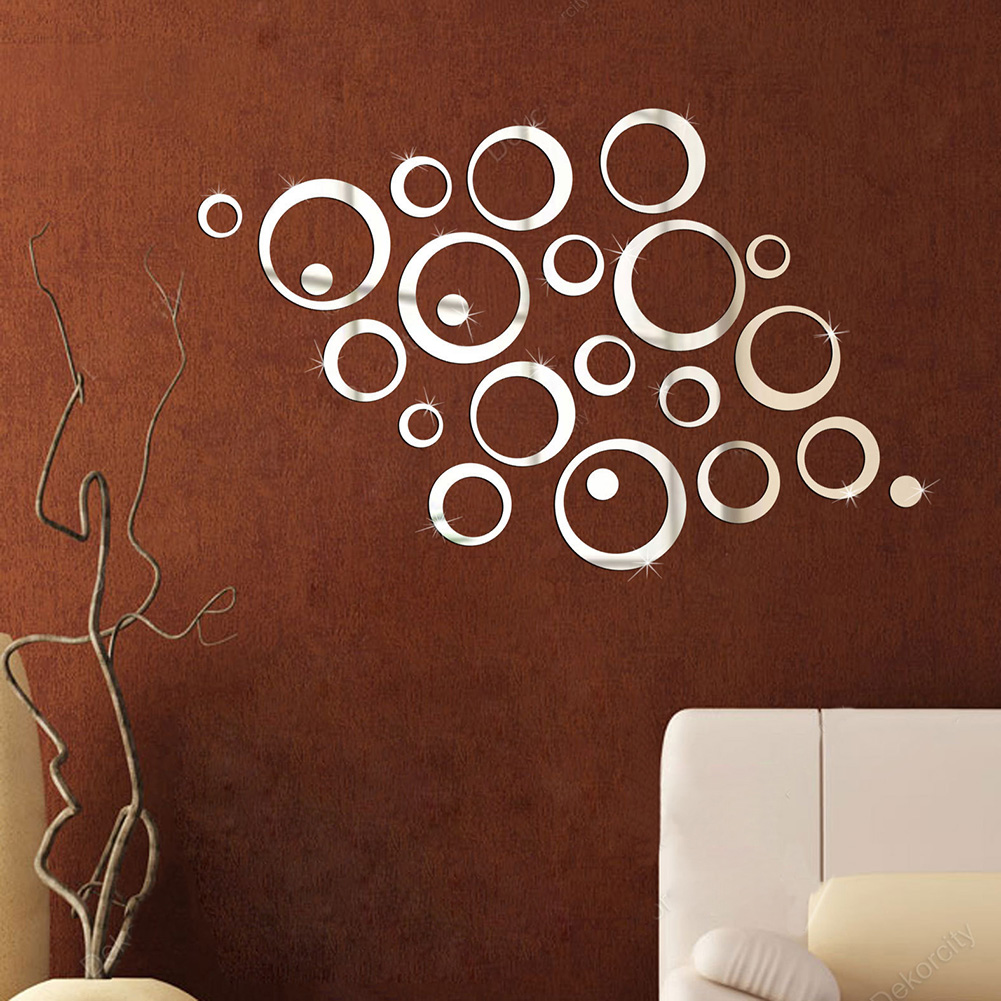 New Creative Silver Tone 3D Mirror Effect Wall Sticker Round Circle Decal Mural Art Home Office Decor(China (Mainland))
