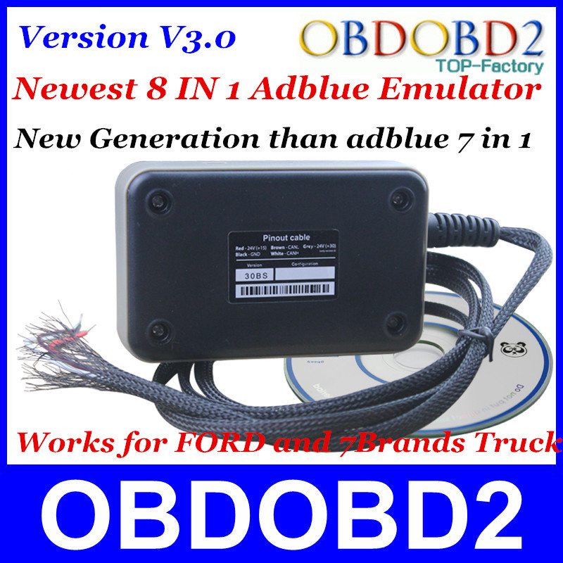10pcs/Lot A+++Quality Adblue Emulator V3.0 8 IN 1 For Ford and 7Brands Heavy Truck Vehicles Supprots EURO 4&6 DHL Shipping(China (Mainland))