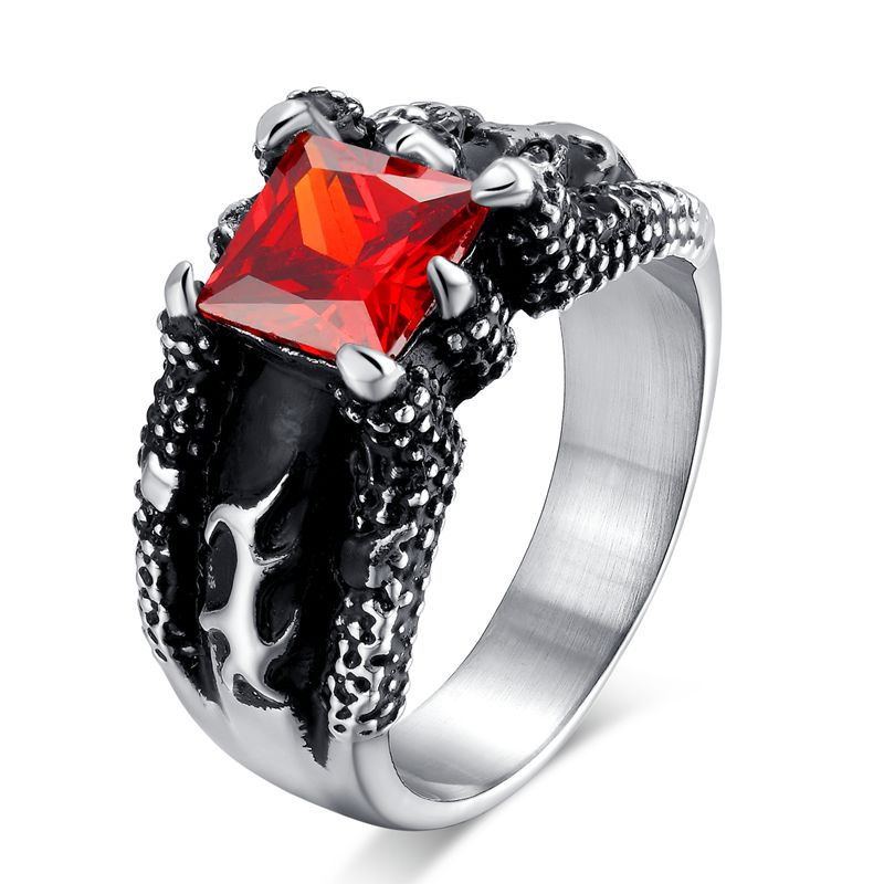 Men Punk Ring Vintage Dragon Ring 316L Stainless Steel Titanium Ring with Red Stone Ruby Jewelry Utr8081(China (Mainland))