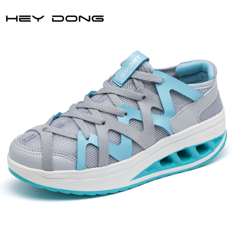 2016 New Arrival Women Casual Shoes Woman Breathable Air Mesh Shoe Fashion Canvas Wedges Shoes Girl Swing Massage Zapatos Mujer(China (Mainland))