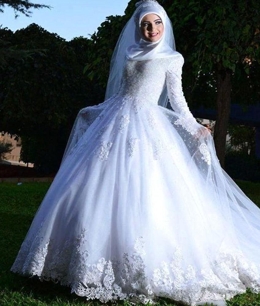 Muslim hijab Wedding Dress 2016 Lace Up Back Long Sleeve Appliques Islamic Dubai WeddingGowns Arabic Fast Shipment Middle East(China (Mainland))