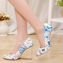 Women Transparent heeled shoes red nude fashion wedges wedding shoe pumps genuine leather 2015 new spring summer lady high heels