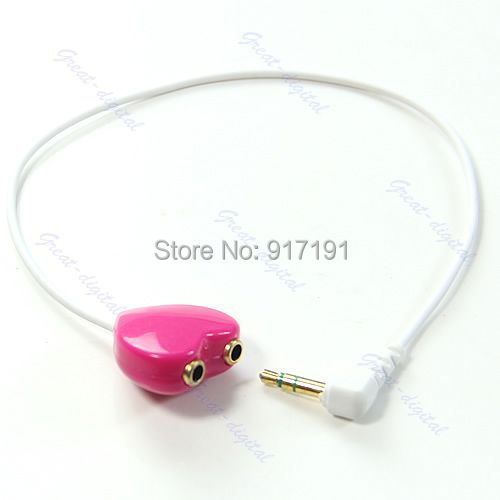 Free Shipping Heart Shape 3.5mm 1 Male To 2 Dual Female Y Splitter Audio Cable Cord New Hot(China (Mainland))