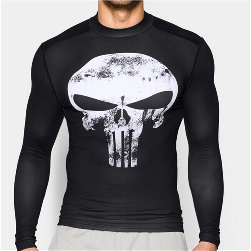 New 2016 Fashion Men Marvel Superhero Punisher T Shirt Jersey Men Sport Fitness Gym Running tee Compression Shirt Tights Tops(China (Mainland))