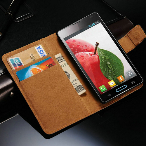 Genuine Leather Case For LG Optimus L7 ll P715 Wallet Style Phone Bag With Stand 2 Card Holders 1 Bill Site(China (Mainland))