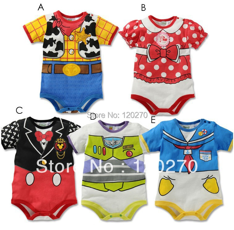 Free Shipping Summer Mickey Minnie Cowboy Baby Boys Girls Character Animal One-Piece Romper Hat Newborn Infant Toddlers Jumpsuit(China (Mainland))