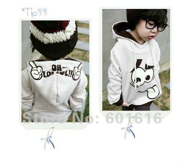FREE SHIPPING!! 2015 Autumn Winter Girls and Boys Children Baby Kids Smile Hoodies Coat Outwear size for 90,100,110,120,130