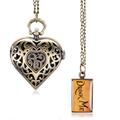 Heart Shaped Hollow Alice in Wonderland Drink Men Tag Pocket Watch Women Ladies Luxury Pendant Gift