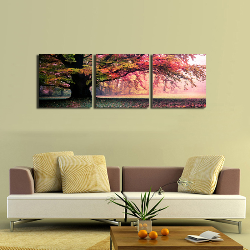 3 piece wall art painting pictures print on canvas landscape canvas painting for living room modern tree painting print unframed(China (Mainland))