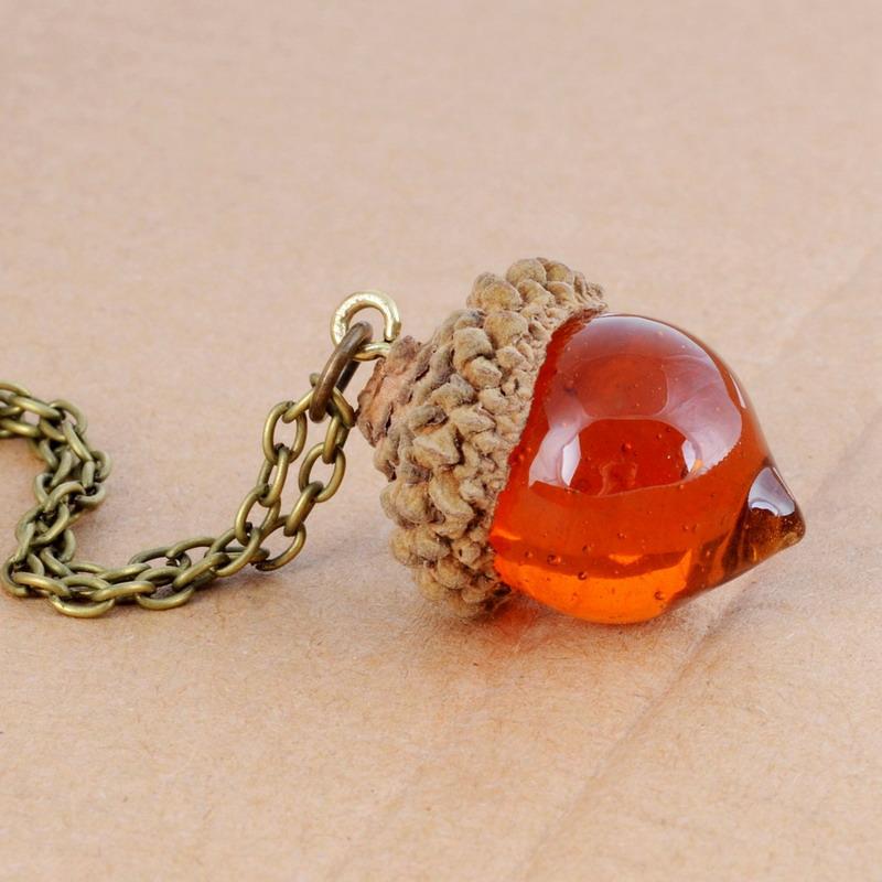 Fashion Women Glaze Stone Necklaces Orange Quartz Real Pine Cone Design Pendant Drop Crystal Natural Stone Necklace Jewelry Gift(China (Mainland))