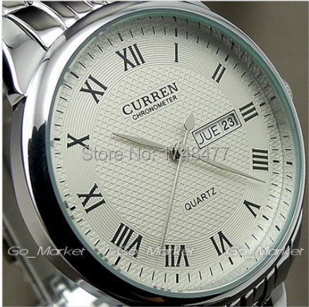 Curren fashion dual calendar full steel Man casual Women Male female unisex clock japan quartz watch