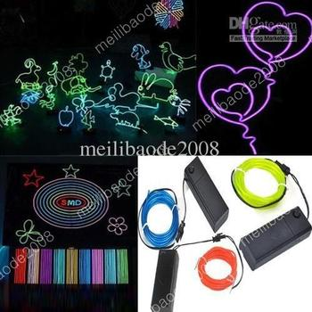 50pcs L80 2 Light Models Green / Blue / Red 3m Flexible Neon Light Glow 2.3mm EL Wire Rope Tube