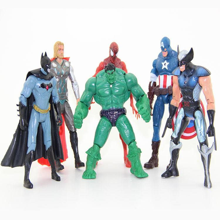 "6pcs/sets The Avengers 5"" Captain America Wolverine Thor Spiderman Batman Action Figures Toys Boy children dolls superhero #023(China (Mainland))"