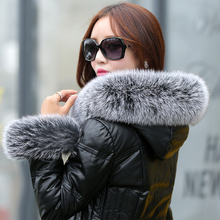 Free shipping Plus size M – 5XL New fashion women winter jackets coats Genuine Leather Luxury fox fur collar female down jackets