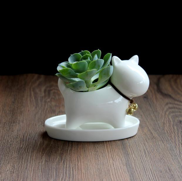 Cute Mini Ceramic Doggy Flower and Plant Pot Decorative Ceramics Craft Ornament Accessories for Room and Garden Embellishment(China (Mainland))