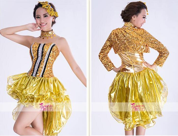 2016 girl new gold fashion DS nightclub DJ costumes clothing sexy clothes female sexy singer dancer star bar show prom singer