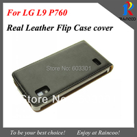 Simple Real leather case for LG L9, Genuine Leather flip cover for LG Optimus L9 P760