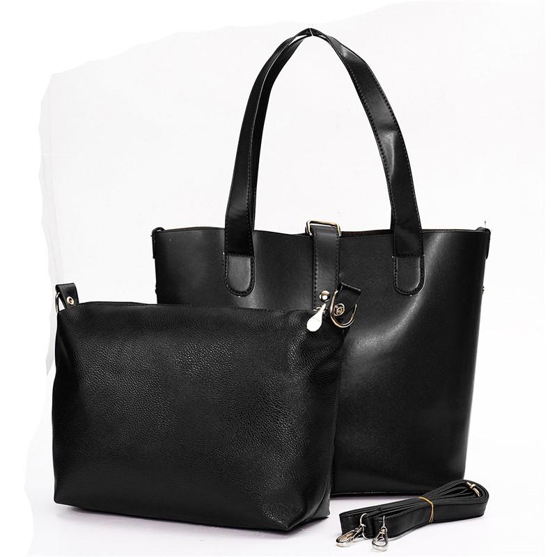 2Pcs/Set Women Handbags Simple Style Tote Bag Large Capacity Leather Ladies Solid Shopping Shoulder Crossbody Bags Bolsa Fashion<br><br>Aliexpress