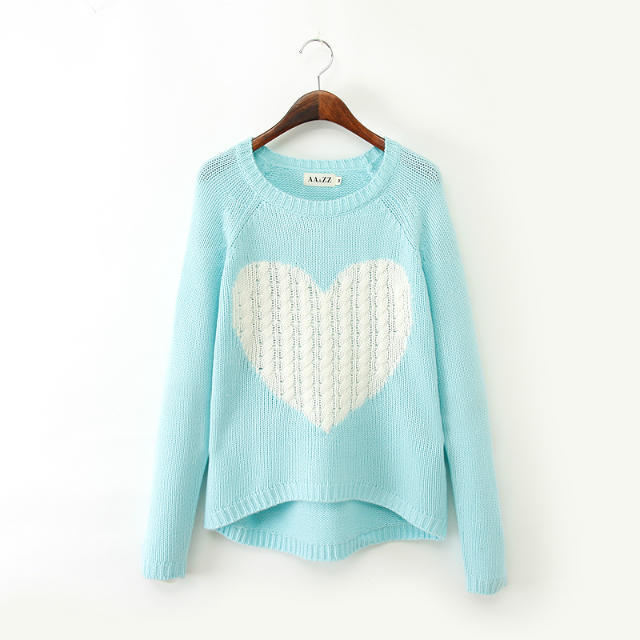O neck long sleeve knitwear stylish Casual Slim knitted sweater New Fashion Ladies' elegant heart pattern pullover Tops VC0334(China (Mainland))
