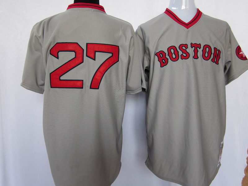 2015 Boston Red Sox jersey authentic shirt Stitched#27 Carlton Fisk jersey Authentic Sox Baseball Jerseys(China (Mainland))