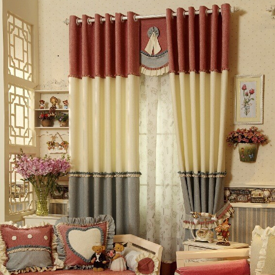 Korean modern style thick chenille curtains love apartment(China (Mainland))