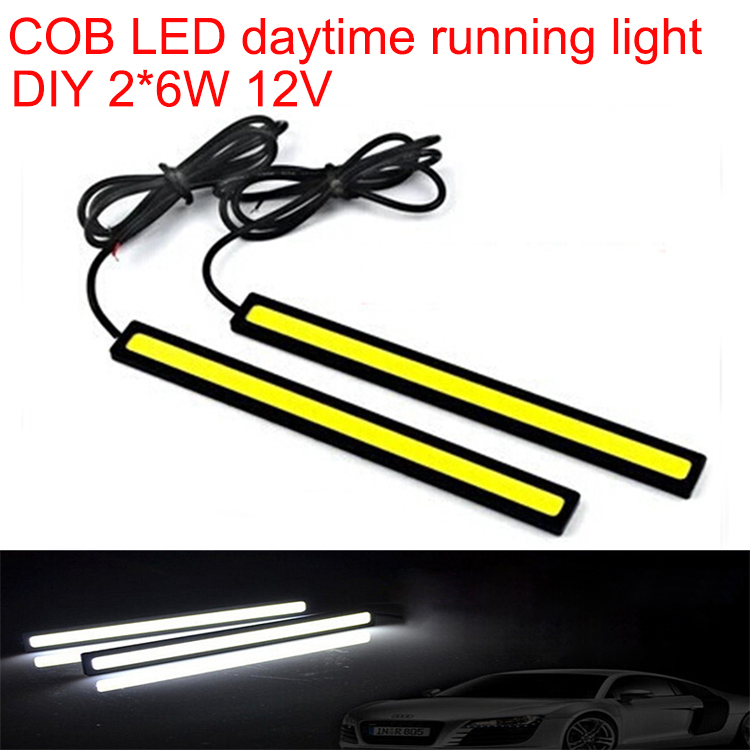 DIY COB DRL daytime running light led car strip lamp automotive car styling automobiles waterproof cold white 2*6W 12V 2pcs/lot(China (Mainland))