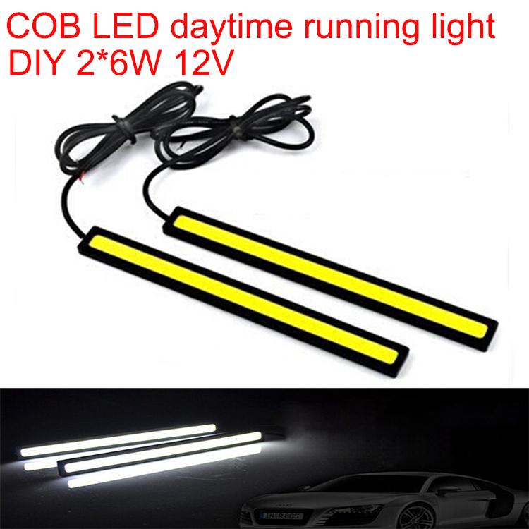 DIY COB DRL daytime running light led car strip lamp automotive car styling automobiles waterproof cold white 2*6W 12V 2pcs/lot(China (Mainland))
