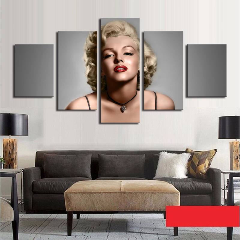 5 pieces posters and prints marilyn monroe poster framed canvas painting modern home decoration wall art