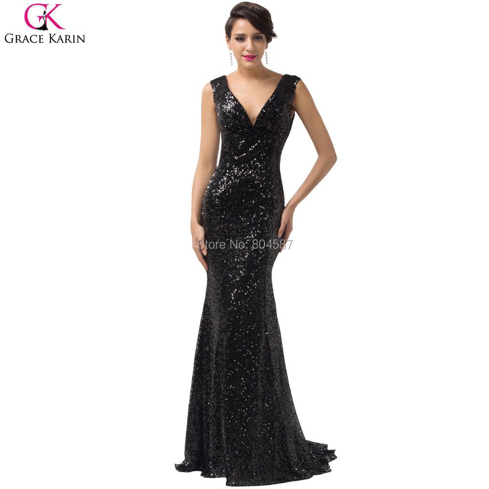 luxury robe de soiree 2015 grace karin long glitter sequin v neck mermaid black red blue gold. Black Bedroom Furniture Sets. Home Design Ideas