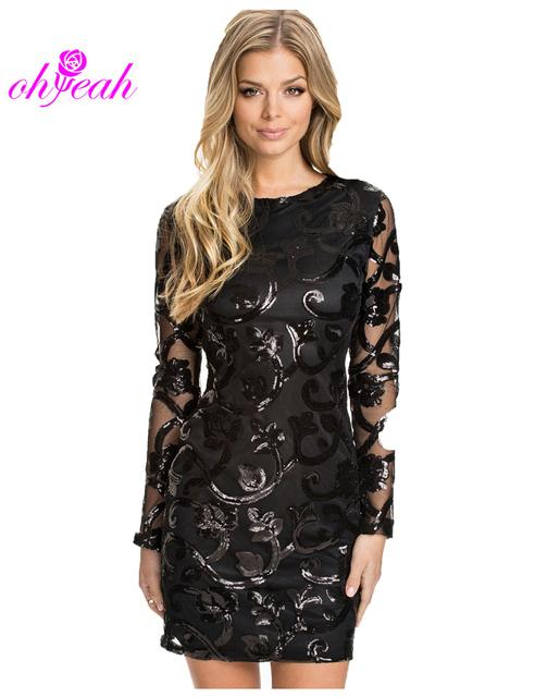 R70205 глазет блесток мода платье 2015 с длинным рукавом сексуальная кожа оформлен ...