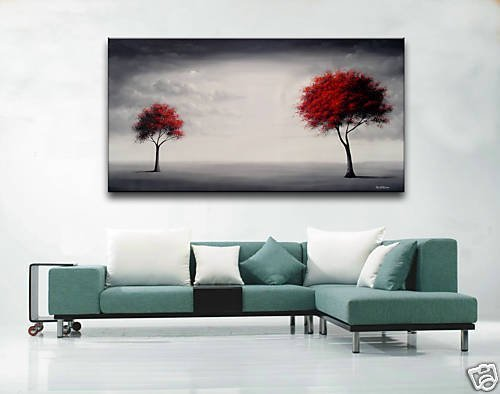 Artist Handicraft Modern Abstract Large Art Canvas Wall Decor Oil Painting Landscape Red Tree oLo PS_222