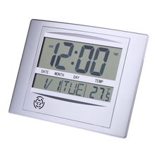 Calendar Alarm Clock With Digital LCD Thermometer Electronic Temperature Meter Walll Hanging&Desk Clock 8.6 x 1.29 x 6.8 inch(China (Mainland))