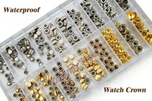 Waterproof Watch Crown Parts Replacement Assorted Gold & Silver Dome Flat Head Watch Accessories Repair Tool Kit for Watchmaker(China (Mainland))