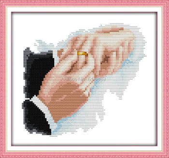Hold Hands Counted Cross Stitch 11CT Printed 14CT DMC Cotton Cross Stitch Sets DIY Cross-stitch Kits Embroidery Needlework