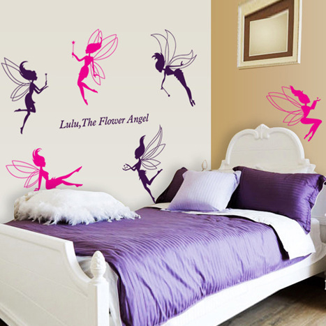 AY7022-generation removable wall stickers Flower Fairy Elf nursery bed children's room bedroom wallpaper wallpaper PVC hair(China (Mainland))