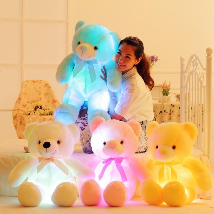 New Creative toy Cute Inductive bear nightlight plush toy LED glow pillow light up stuff toy bear pet girl friend gift(China (Mainland))