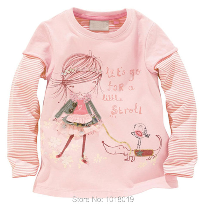 18M~6T Brand High Quality 100% Cotton Children Baby Girls Clothes Clothing Kids Girls t-shirts tshirts Shirts Blouse Long Sleeve<br><br>Aliexpress