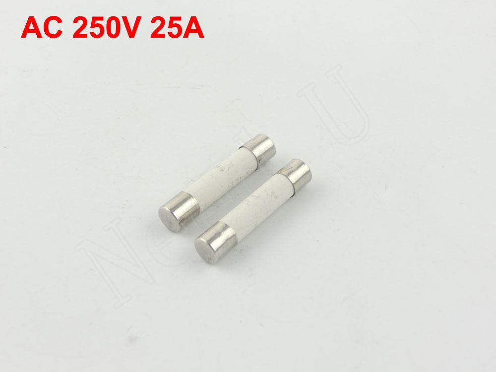 100 PCS 6 x 30mm Fusible Core Cylinder Cap Ceramic Tube Fuse Links 250V 25A(China (Mainland))
