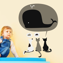 Buy Creative Whale Cat Baby Room Wall Stickers DIY Home Decor Kids Rooms Bedroom Window PVC Mural Wall Sticker Kindergarten for $4.61 in AliExpress store